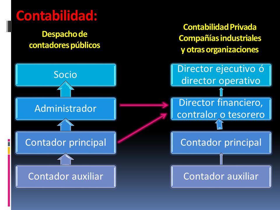 Contabilidad: SocioAdministradorContador principalContador auxiliar Despacho de contadores públicos Contabilidad Privada Compañías industriales y otra