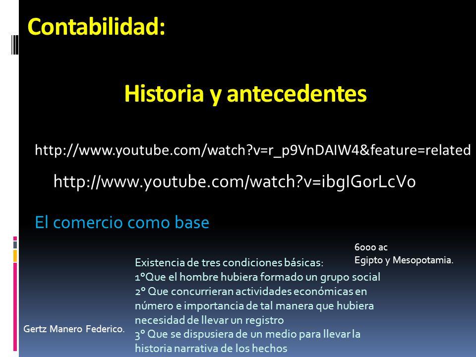 Contabilidad: Historia y antecedentes http://www.youtube.com/watch?v=ibgIG0rLcV0 http://www.youtube.com/watch?v=r_p9VnDAIW4&feature=related El comerci