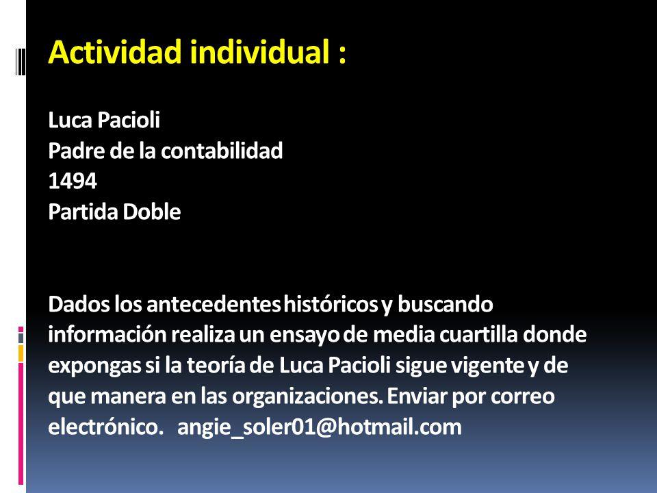 Actividad individual : Luca Pacioli Padre de la contabilidad 1494 Partida Doble Dados los antecedentes históricos y buscando información realiza un en