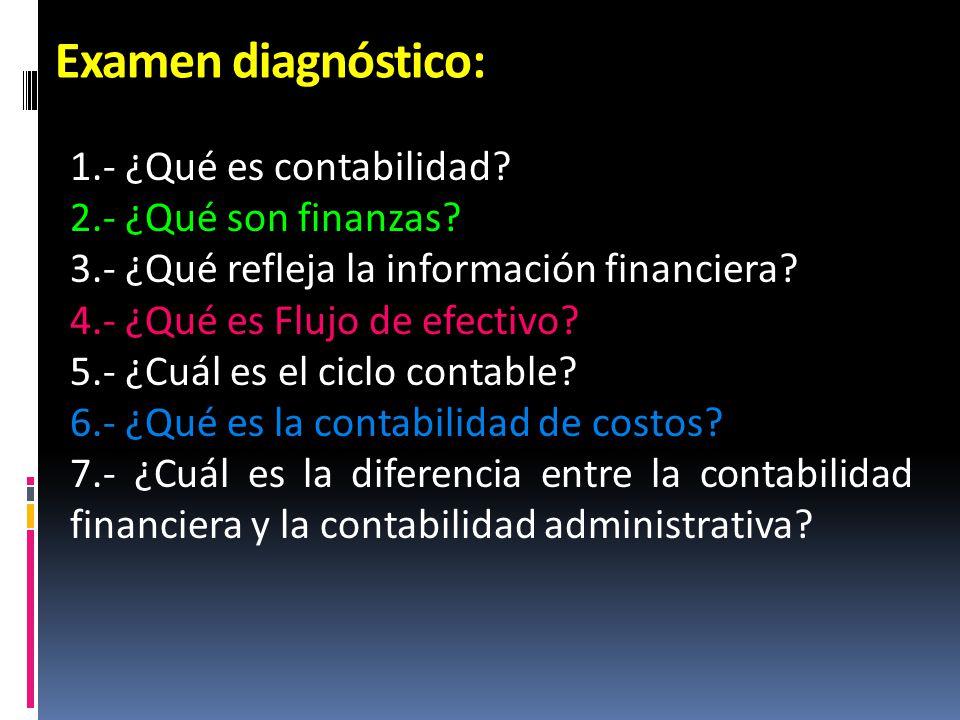 Examen diagnóstico: 1.- ¿Qué es contabilidad? 2.- ¿Qué son finanzas? 3.- ¿Qué refleja la información financiera? 4.- ¿Qué es Flujo de efectivo? 5.- ¿C