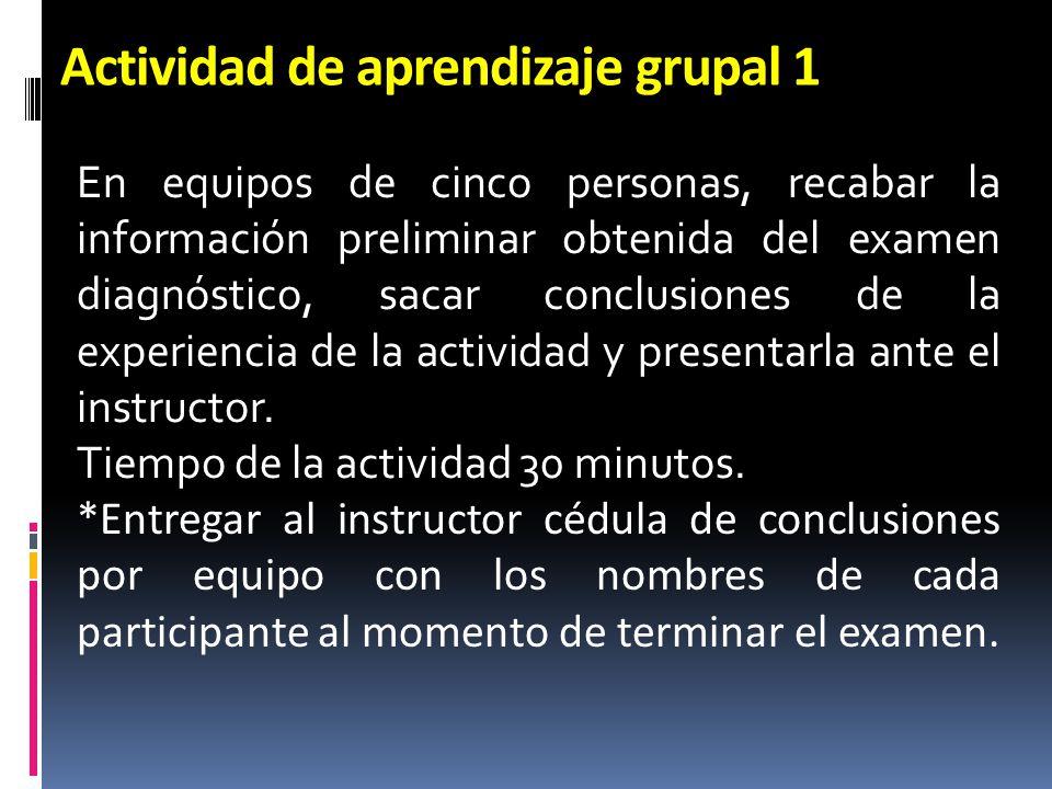 Actividad de aprendizaje grupal 1 En equipos de cinco personas, recabar la información preliminar obtenida del examen diagnóstico, sacar conclusiones