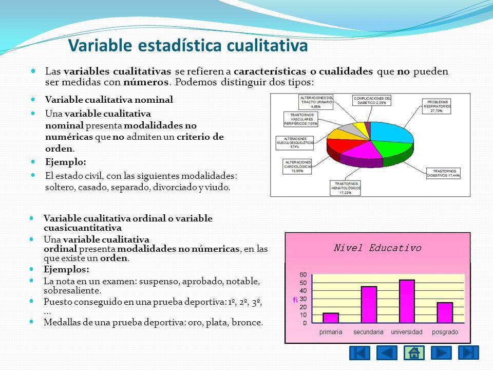 Variable estadística cualitativa Las variables cualitativas se refieren a características o cualidades que no pueden ser medidas con números. Podemos
