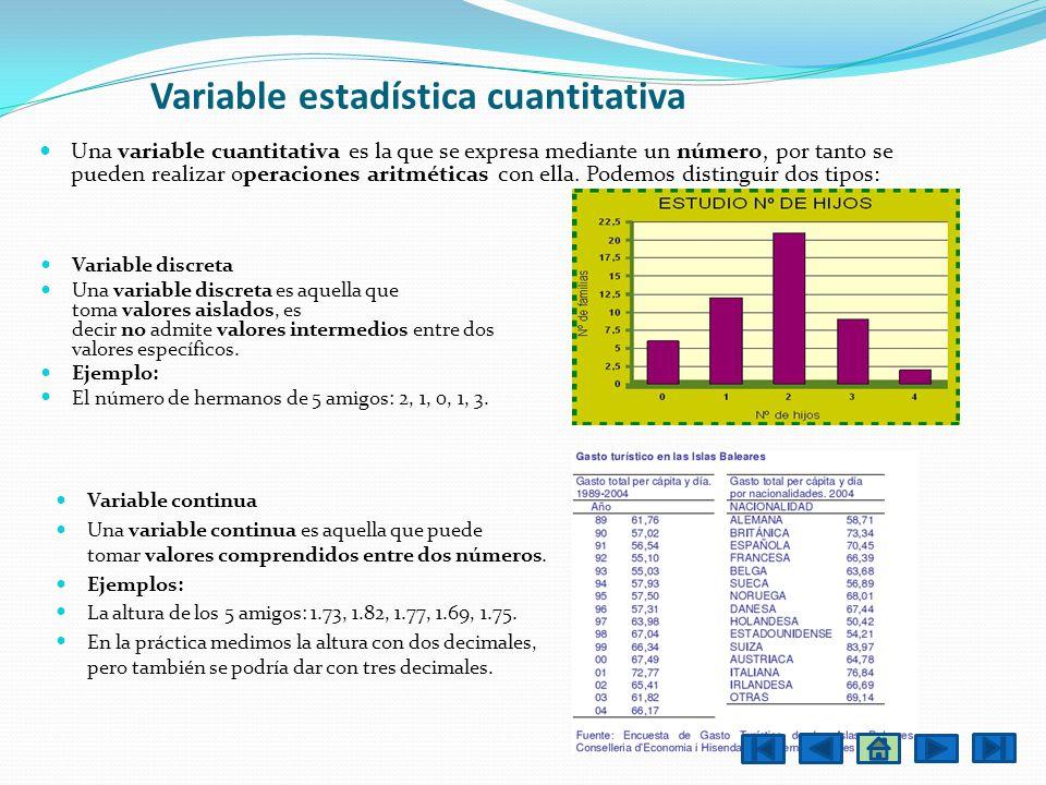 Una variable cuantitativa es la que se expresa mediante un número, por tanto se pueden realizar operaciones aritméticas con ella. Podemos distinguir d