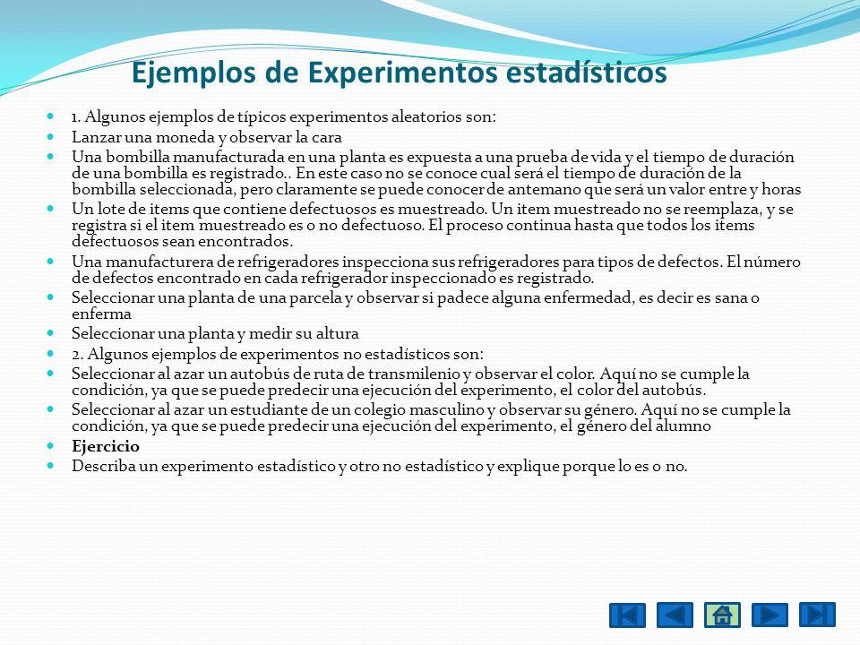 Ejemplos de Experimentos estadísticos 1. Algunos ejemplos de típicos experimentos aleatorios son: Lanzar una moneda y observar la cara Una bombilla ma