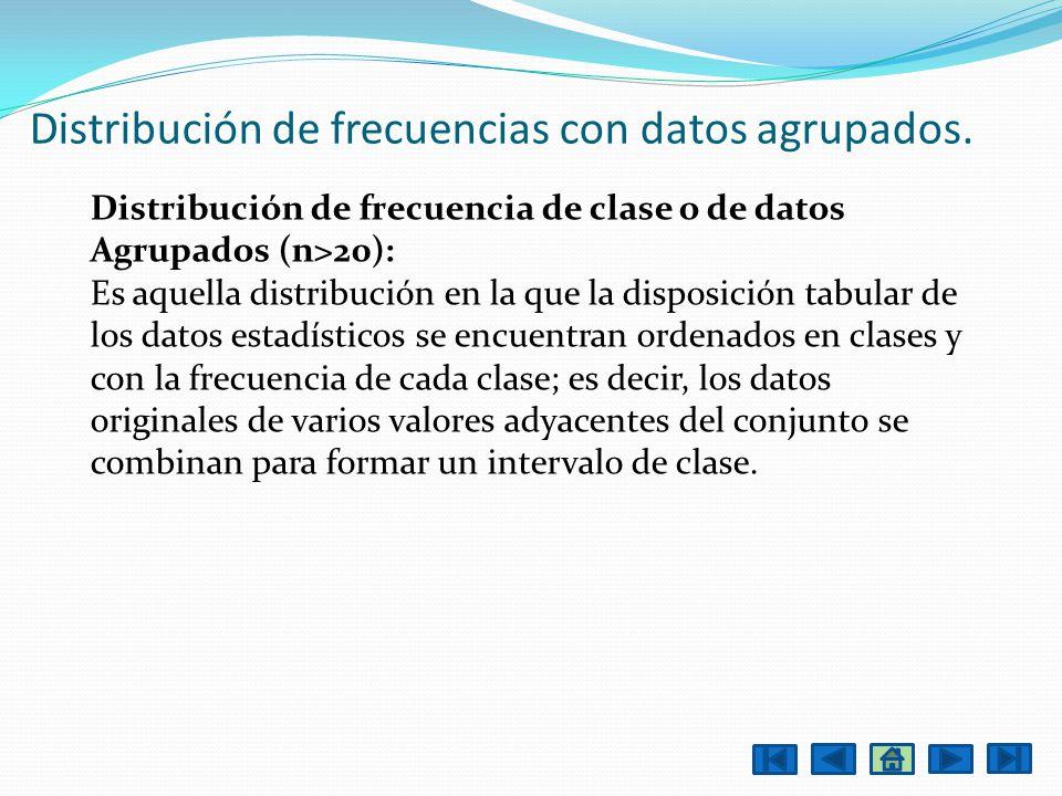 Distribución de frecuencia de clase o de datos Agrupados (n>20): Es aquella distribución en la que la disposición tabular de los datos estadísticos se