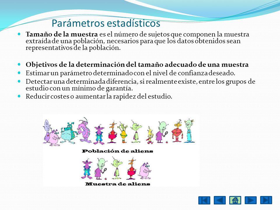 Parámetros estadísticos Tamaño de la muestra es el número de sujetos que componen la muestra extraída de una población, necesarios para que los datos
