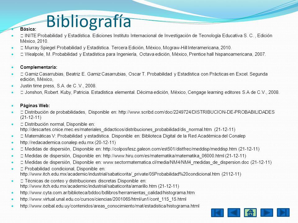 Bibliografía Básica: INITE Probabilidad y Estadística. Ediciones Instituto Internacional de Investigación de Tecnología Educativa S. C., Edición Méxic