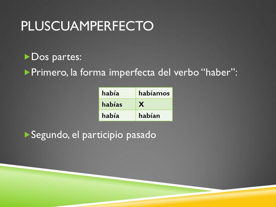 PLUSCUAMPERFECTO Dos partes: Primero, la forma imperfecta del verbo haber: Segundo, el participio pasado habíahabíamos habíasX habíahabían