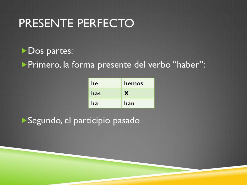 PRESENTE PERFECTO Dos partes: Primero, la forma presente del verbo haber: Segundo, el participio pasado hehemos hasX hahan