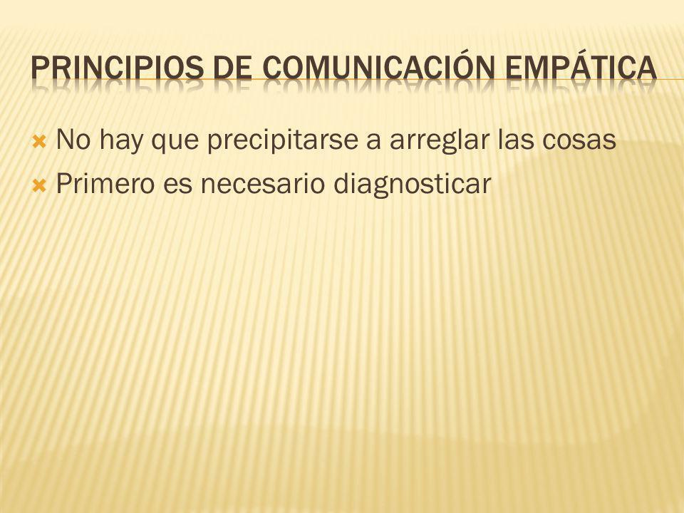 Hay que escuchar y hablar El carácter debe ser comunicativo para poder confiar
