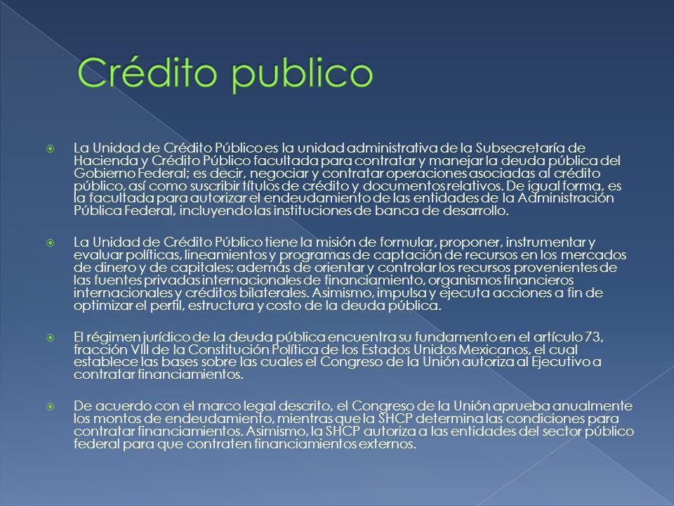 La Unidad de Crédito Público es la unidad administrativa de la Subsecretaría de Hacienda y Crédito Público facultada para contratar y manejar la deuda pública del Gobierno Federal; es decir, negociar y contratar operaciones asociadas al crédito público, así como suscribir títulos de crédito y documentos relativos.