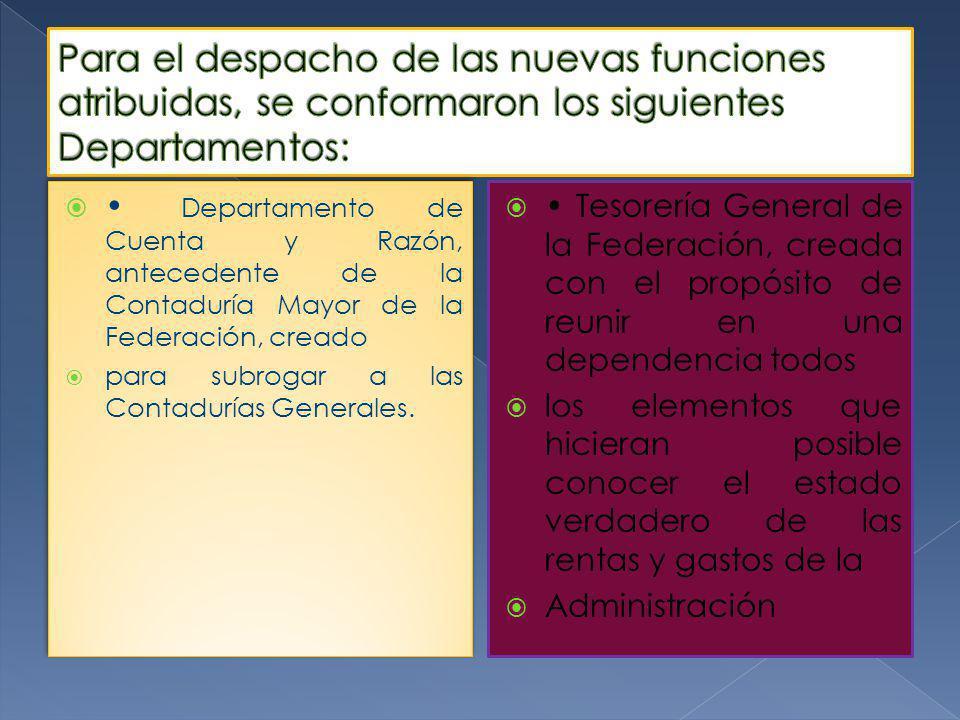 Departamento de Cuenta y Razón, antecedente de la Contaduría Mayor de la Federación, creado para subrogar a las Contadurías Generales.