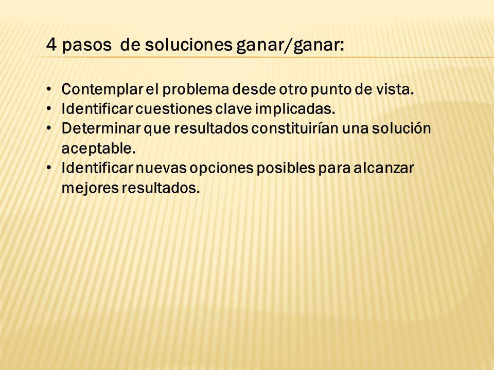4 pasos de soluciones ganar/ganar: Contemplar el problema desde otro punto de vista. Identificar cuestiones clave implicadas. Determinar que resultado