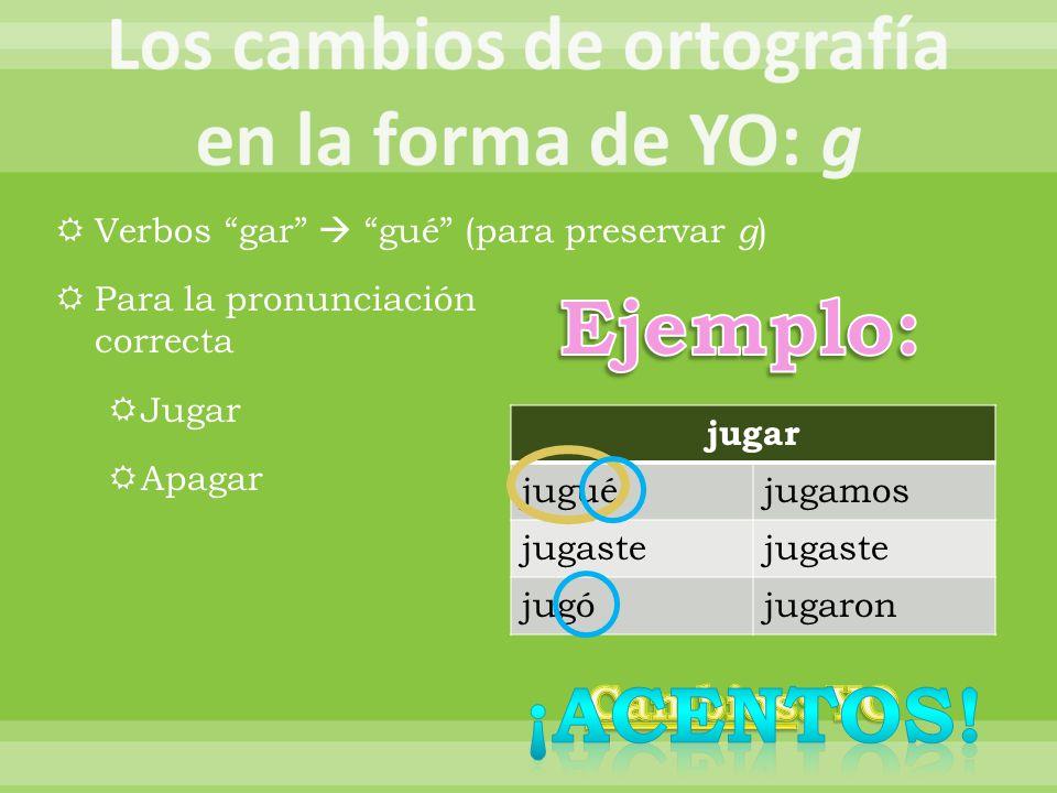 Verbos gar gué (para preservar g ) Para la pronunciación correcta Jugar Apagar jugar juguéjugamos jugaste jugójugaron