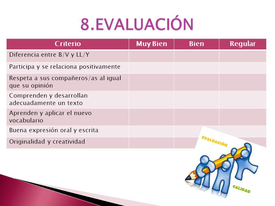8.EVALUACIÓN CriterioMuy BienBienRegular Diferencia entre B/V y LL/Y Participa y se relaciona positivamente Respeta a sus compañeros/as al igual que s