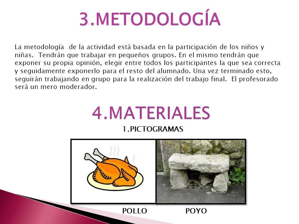 3.METODOLOGÍA La metodología de la actividad está basada en la participación de los niños y niñas. Tendrán que trabajar en pequeños grupos. En el mism