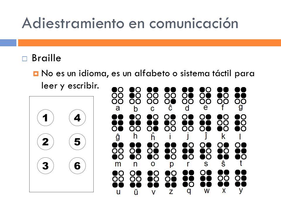 Adiestramiento en comunicación Braille No es un idioma, es un alfabeto o sistema táctil para leer y escribir.