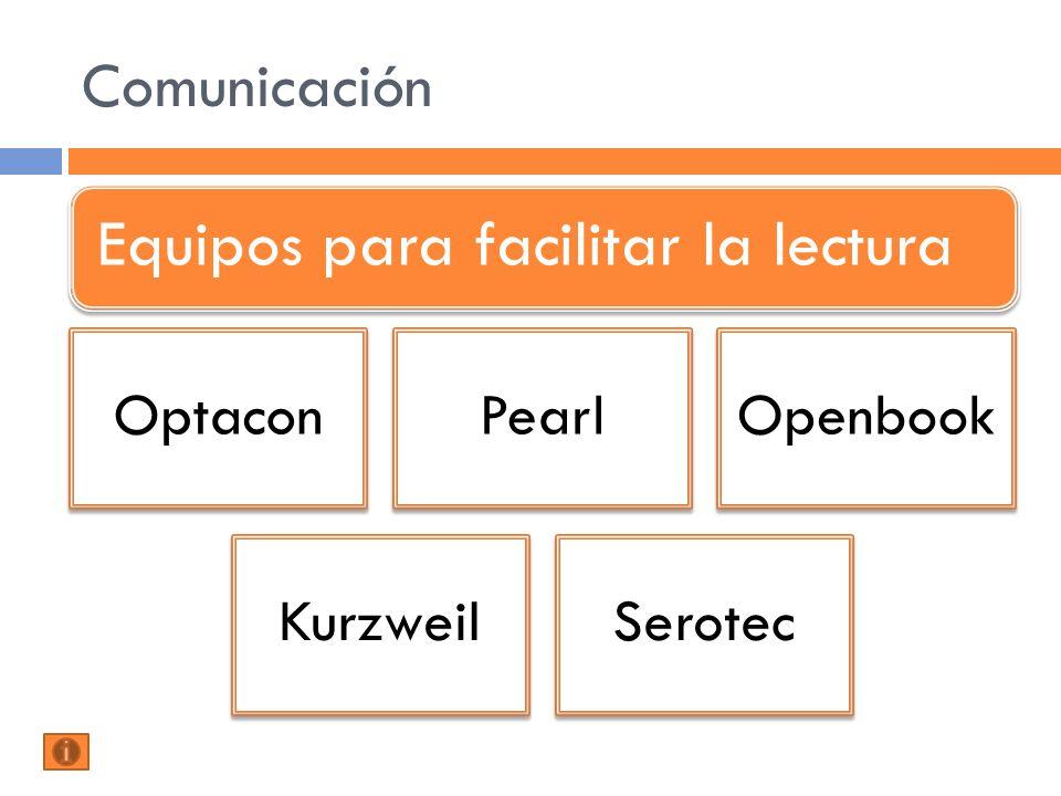Comunicación Equipos para facilitar la lectura OptaconPearlOpenbook KurzweilSerotec
