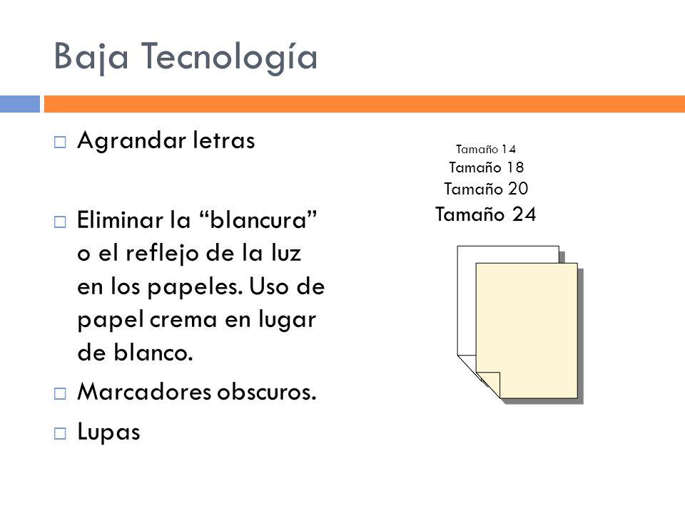 Baja Tecnología Agrandar letras Eliminar la blancura o el reflejo de la luz en los papeles.