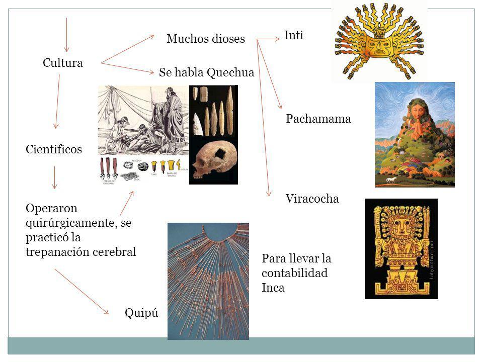 Cultura Muchos dioses Se habla Quechua Inti Pachamama Viracocha Cientificos Operaron quirúrgicamente, se practicó la trepanación cerebral Quipú Para l