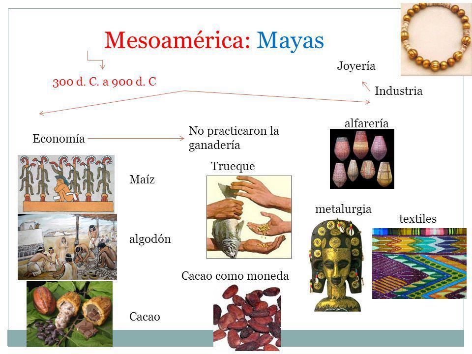 Mesoamérica: Mayas 300 d. C. a 900 d. C Economía Maíz algodón Cacao No practicaron la ganadería Trueque Industria Cacao como moneda alfarería metalurg