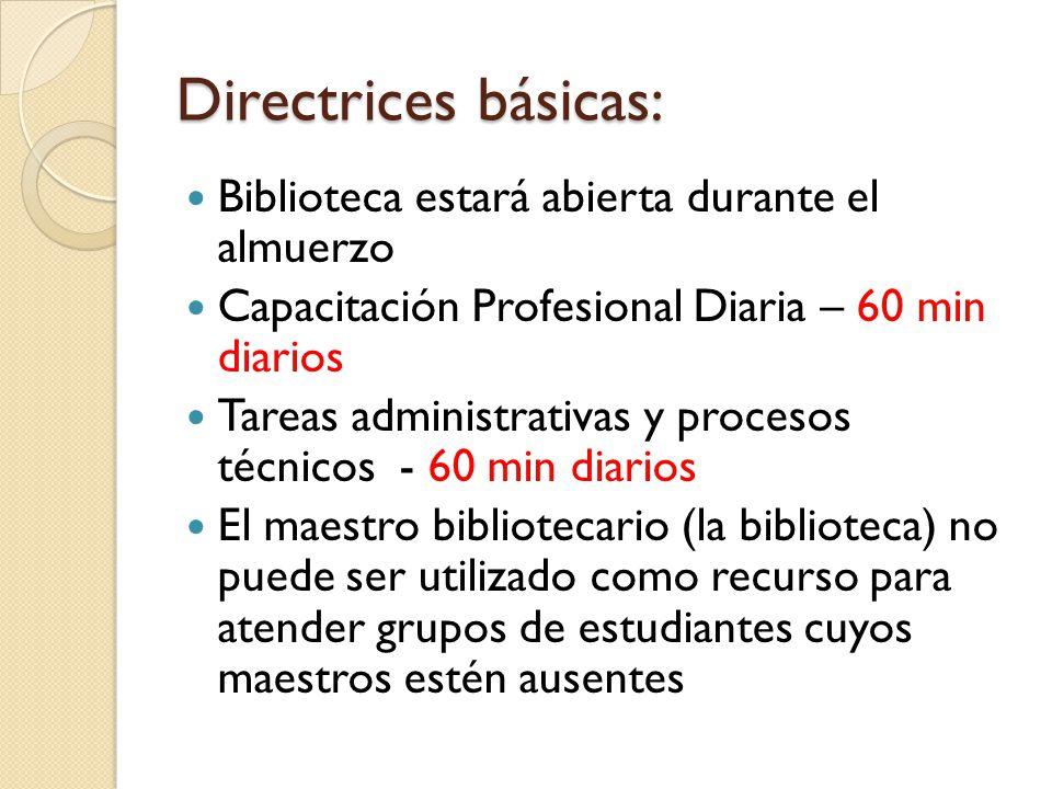 Directrices básicas: Biblioteca estará abierta durante el almuerzo Capacitación Profesional Diaria – 60 min diarios Tareas administrativas y procesos