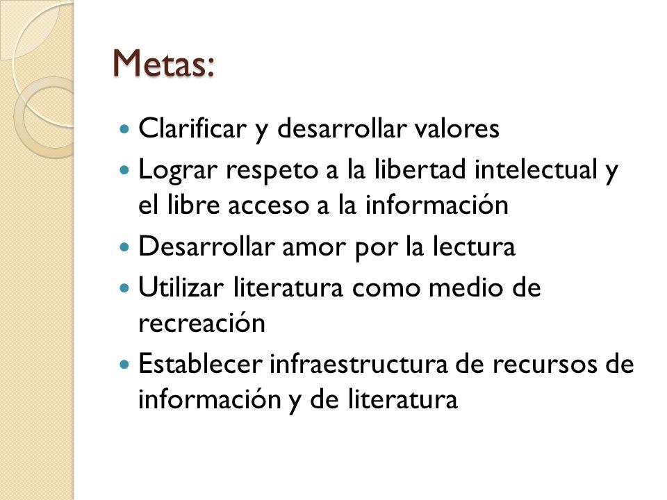 Metas: Clarificar y desarrollar valores Lograr respeto a la libertad intelectual y el libre acceso a la información Desarrollar amor por la lectura Ut