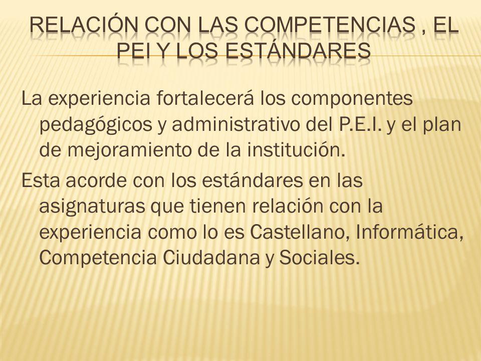 La experiencia fortalecerá los componentes pedagógicos y administrativo del P.E.I. y el plan de mejoramiento de la institución. Esta acorde con los es