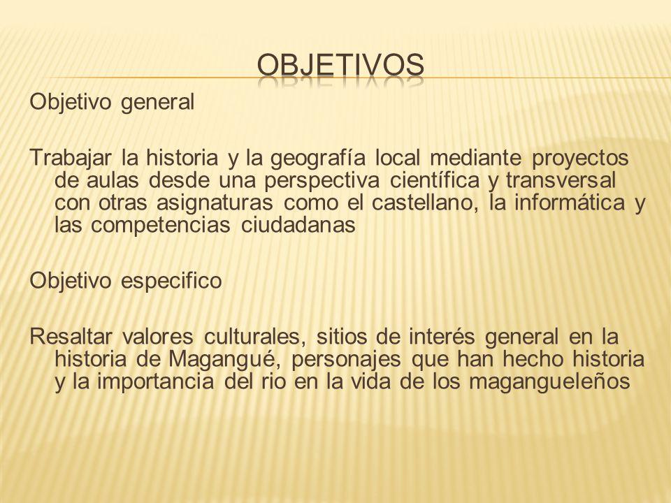 Objetivo general Trabajar la historia y la geografía local mediante proyectos de aulas desde una perspectiva científica y transversal con otras asigna
