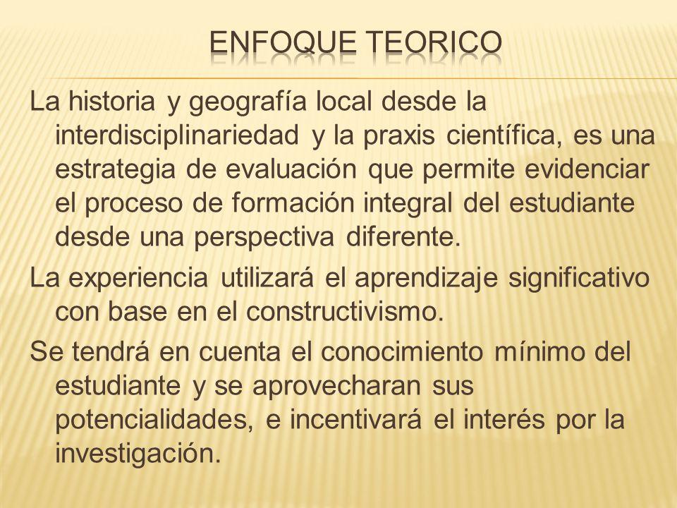 La historia y geografía local desde la interdisciplinariedad y la praxis científica, es una estrategia de evaluación que permite evidenciar el proceso