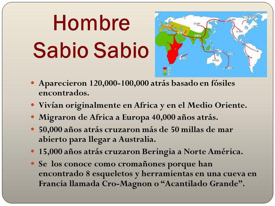 Hombre Sabio Sabio Aparecieron 120,000-100,000 atrás basado en fósiles encontrados. Vivían originalmente en Africa y en el Medio Oriente. Migraron de