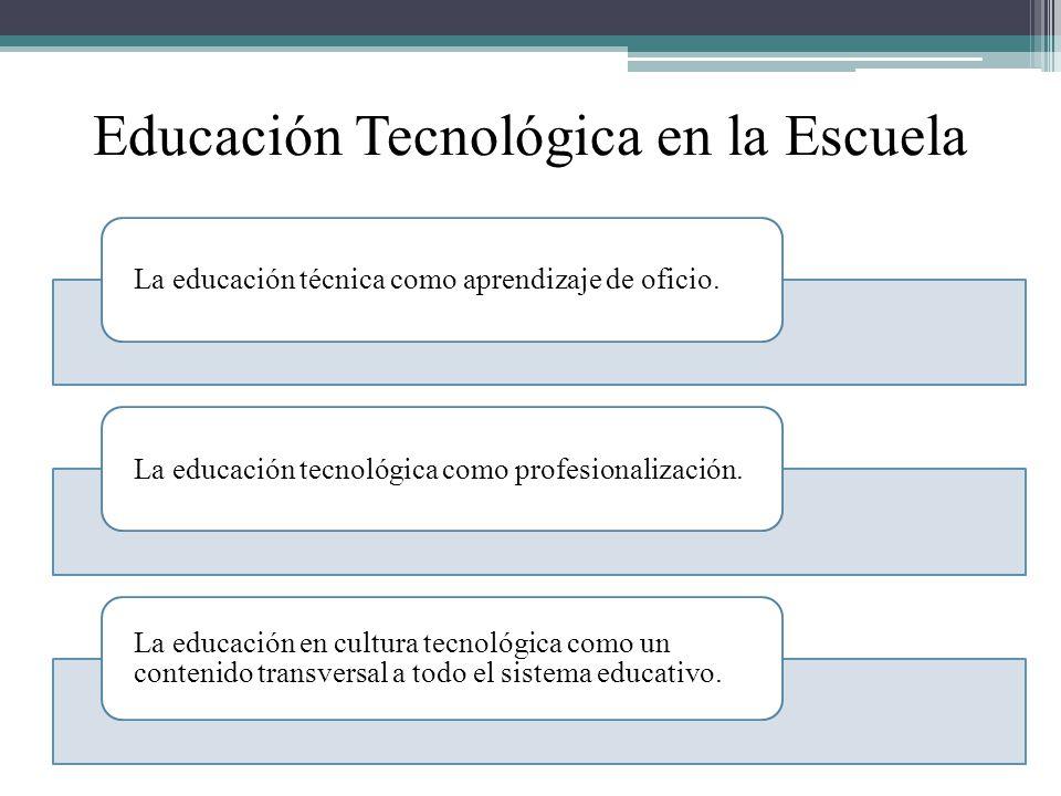 Educación Tecnológica en la Escuela La educación técnica como aprendizaje de oficio.La educación tecnológica como profesionalización. La educación en