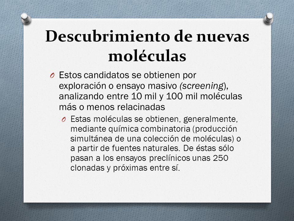 Descubrimiento de nuevas moléculas O Estos candidatos se obtienen por exploración o ensayo masivo (screening), analizando entre 10 mil y 100 mil moléc