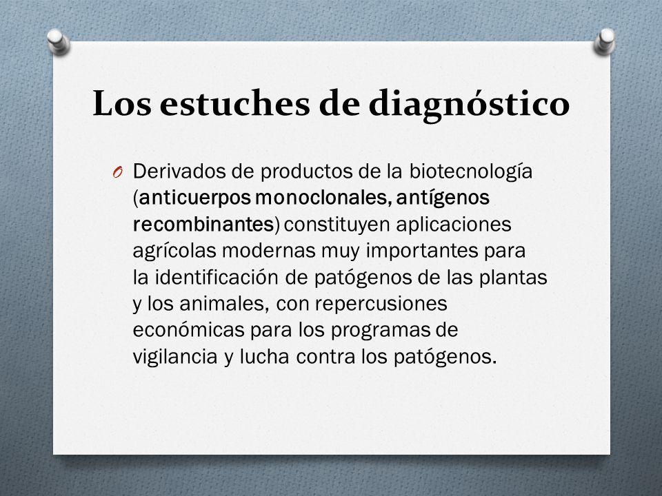 Los estuches de diagnóstico O Derivados de productos de la biotecnología (anticuerpos monoclonales, antígenos recombinantes) constituyen aplicaciones
