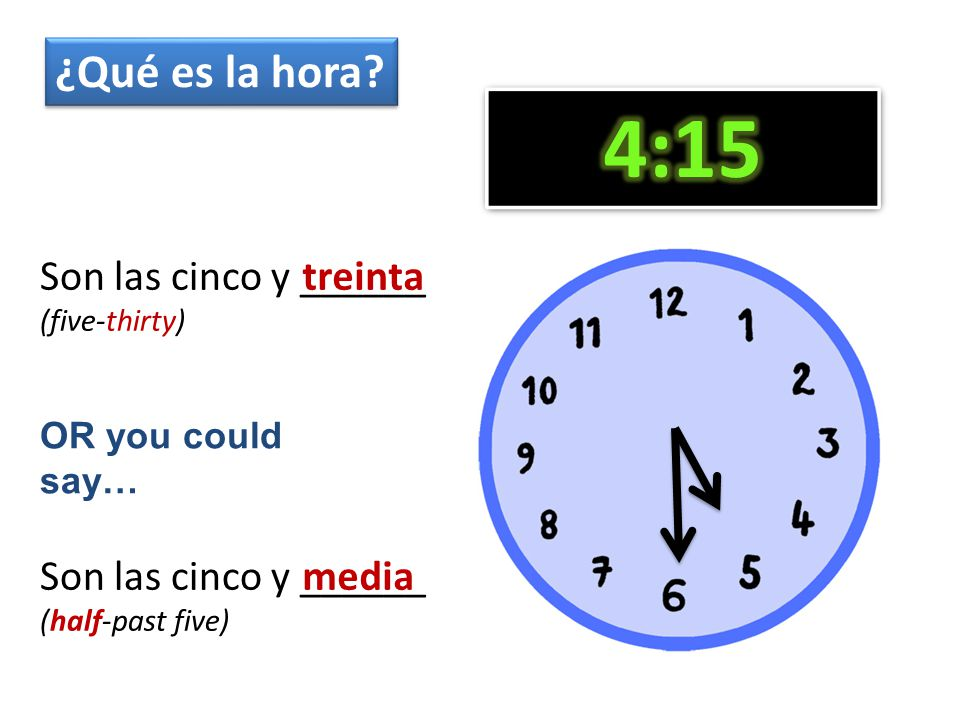 Son las cinco ……………_______ (quarter to five) Son las cinco ……………______ (fifteen minutes to five) quince cuarto ¿Qué es la hora.