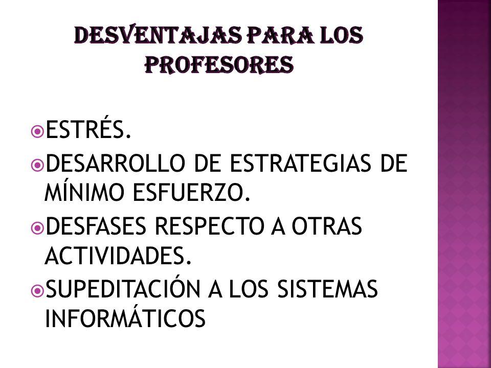 ESTRÉS. DESARROLLO DE ESTRATEGIAS DE MÍNIMO ESFUERZO. DESFASES RESPECTO A OTRAS ACTIVIDADES. SUPEDITACIÓN A LOS SISTEMAS INFORMÁTICOS