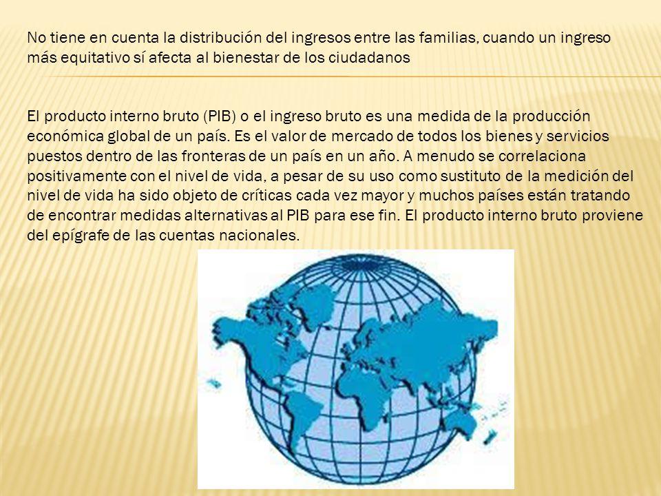 El producto interno bruto (PIB) o el ingreso bruto es una medida de la producción económica global de un país. Es el valor de mercado de todos los bie