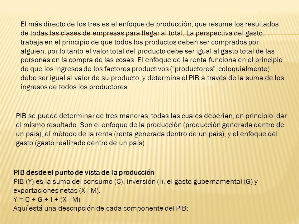 El más directo de los tres es el enfoque de producción, que resume los resultados de todas las clases de empresas para llegar al total. La perspectiva