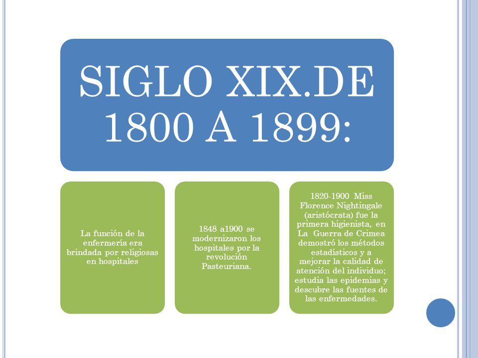 SIGLO XIX.DE 1800 A 1899: La función de la enfermería era brindada por religiosas en hospitales 1848 a1900 se modernizaron los hospitales por la revol