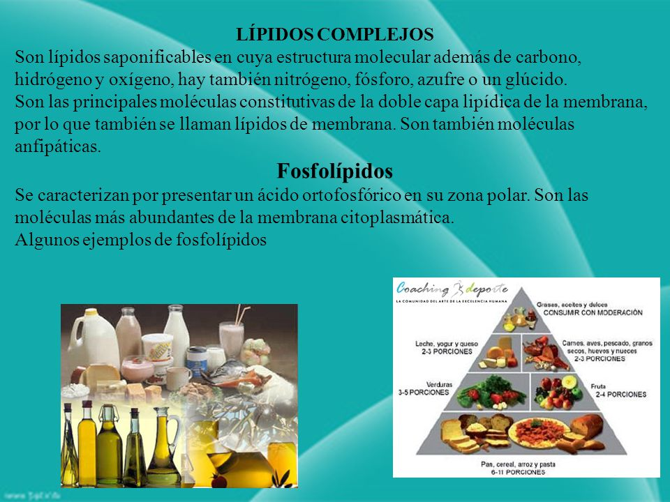 LÍPIDOS COMPLEJOS Son lípidos saponificables en cuya estructura molecular además de carbono, hidrógeno y oxígeno, hay también nitrógeno, fósforo, azufre o un glúcido.