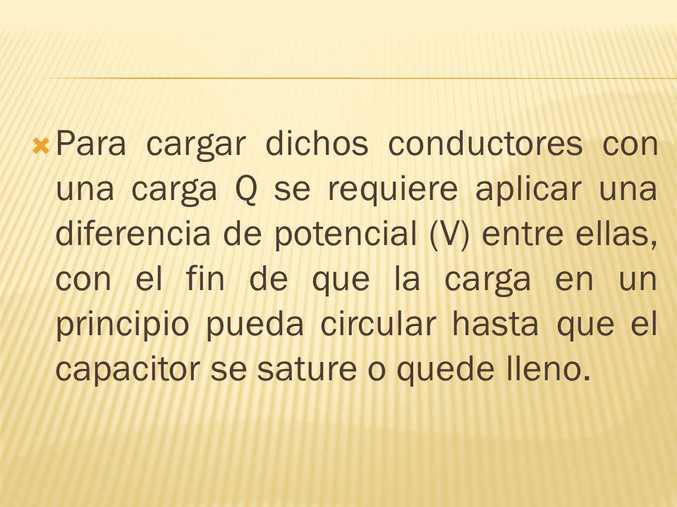 Para cargar dichos conductores con una carga Q se requiere aplicar una diferencia de potencial (V) entre ellas, con el fin de que la carga en un princ