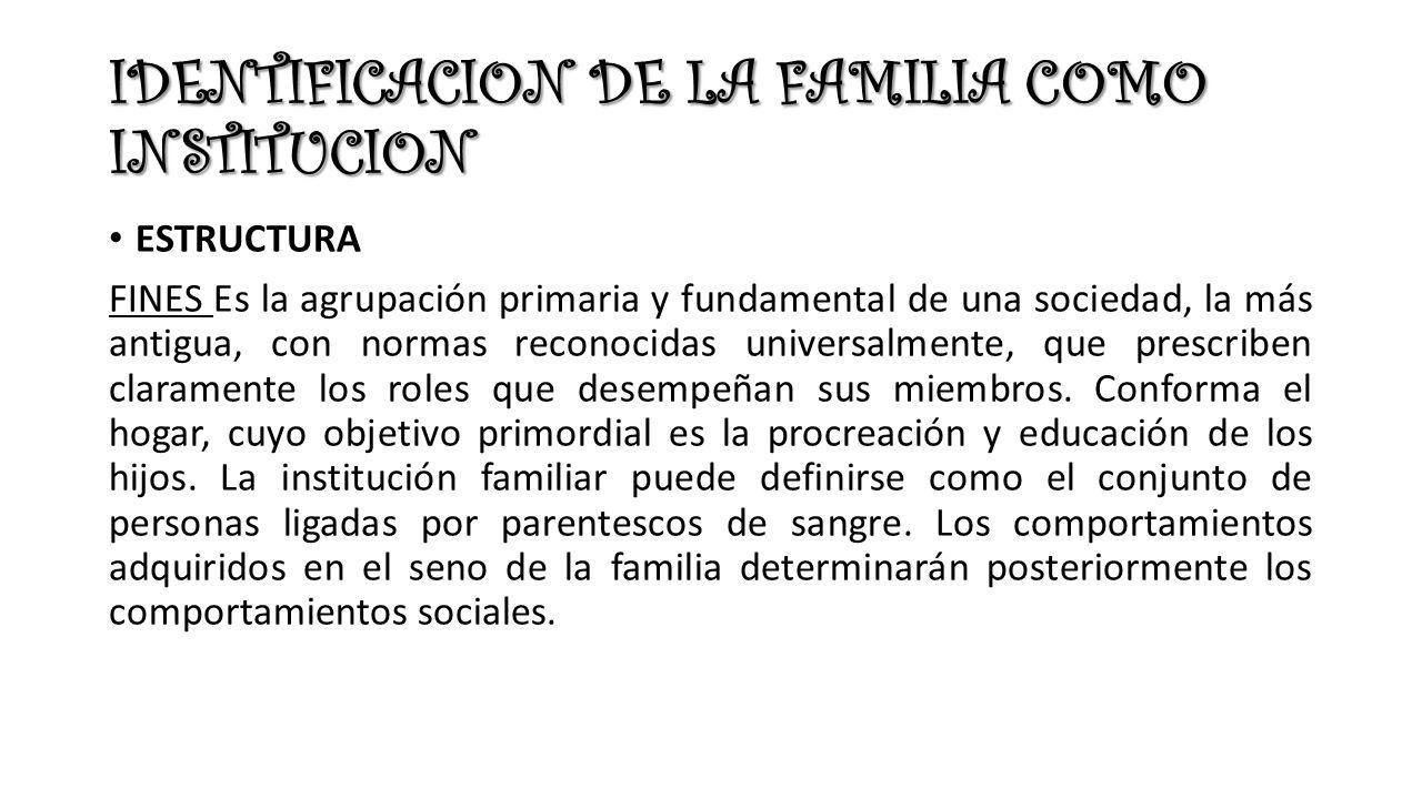 IDENTIFICACION DE LA FAMILIA COMO INSTITUCION ESTRUCTURA FINES Es la agrupación primaria y fundamental de una sociedad, la más antigua, con normas reconocidas universalmente, que prescriben claramente los roles que desempeñan sus miembros.