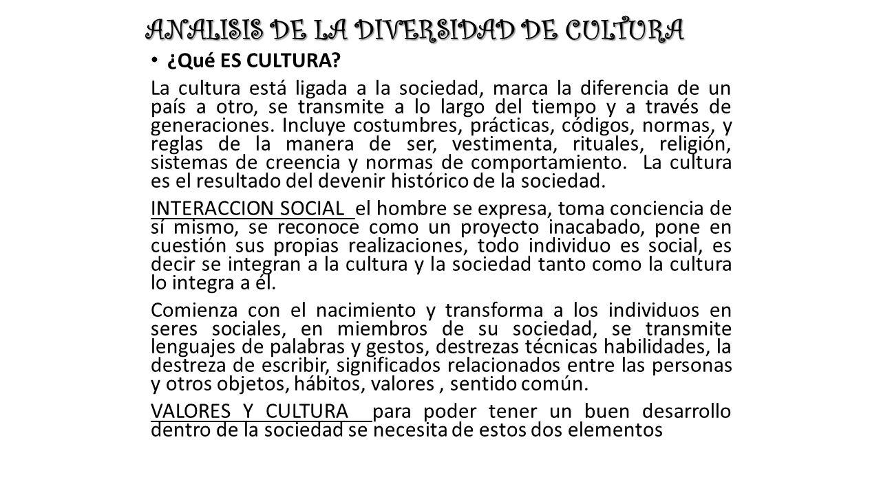 ANALISIS DE LA DIVERSIDAD DE CULTURA ¿Qué ES CULTURA.