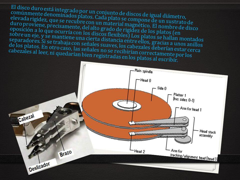 El disco duro está integrado por un conjunto de discos de igual diámetro, comúnmente denominados platos. Cada plato se compone de un sustrato de eleva