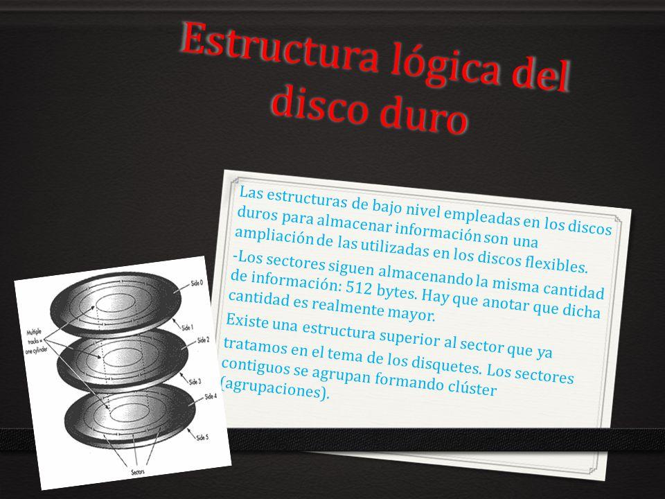 Estructura lógica del disco duro Las estructuras de bajo nivel empleadas en los discos duros para almacenar información son una ampliación de las util