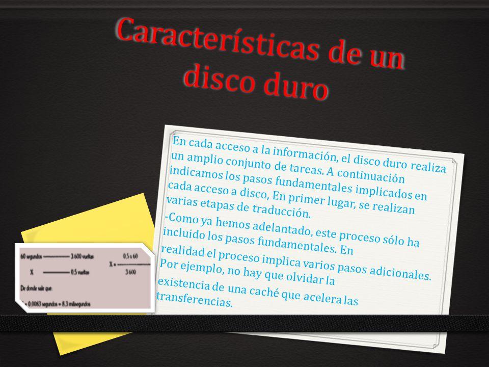 Características de un disco duro En cada acceso a la información, el disco duro realiza un amplio conjunto de tareas. A continuación indicamos los pas