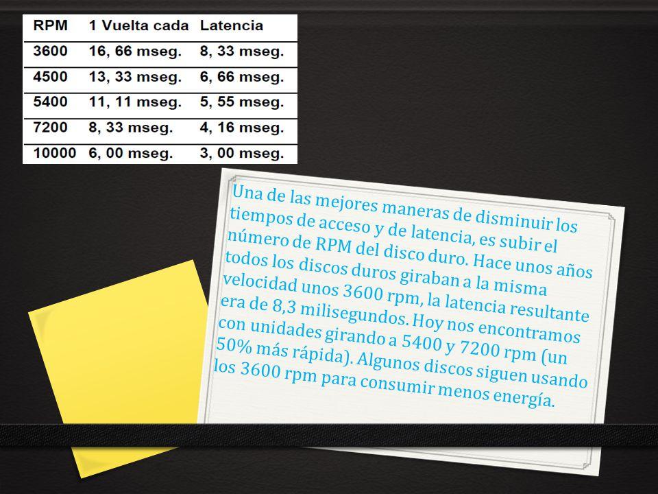 Una de las mejores maneras de disminuir los tiempos de acceso y de latencia, es subir el número de RPM del disco duro. Hace unos años todos los discos