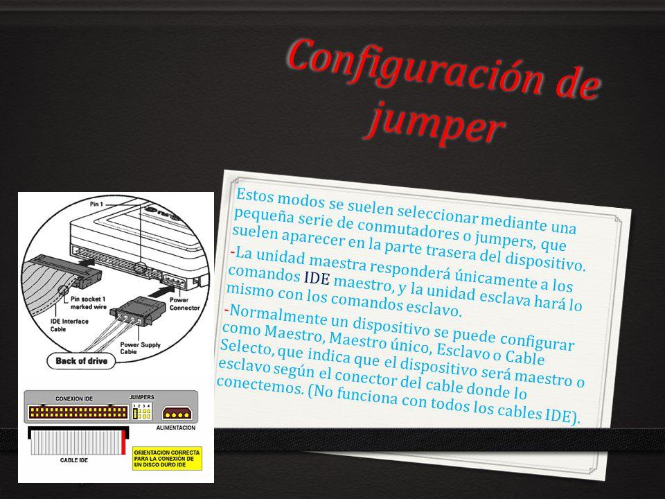 Configuración de jumper Estos modos se suelen seleccionar mediante una pequeña serie de conmutadores o jumpers, que suelen aparecer en la parte traser