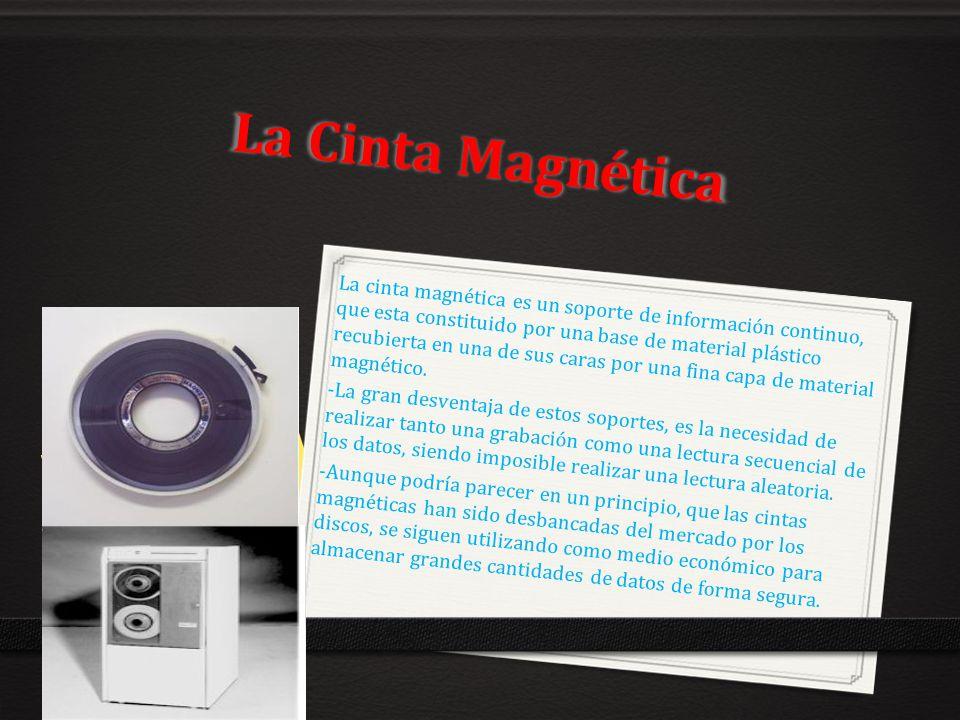 La Cinta Magnética La cinta magnética es un soporte de información continuo, que esta constituido por una base de material plástico recubierta en una