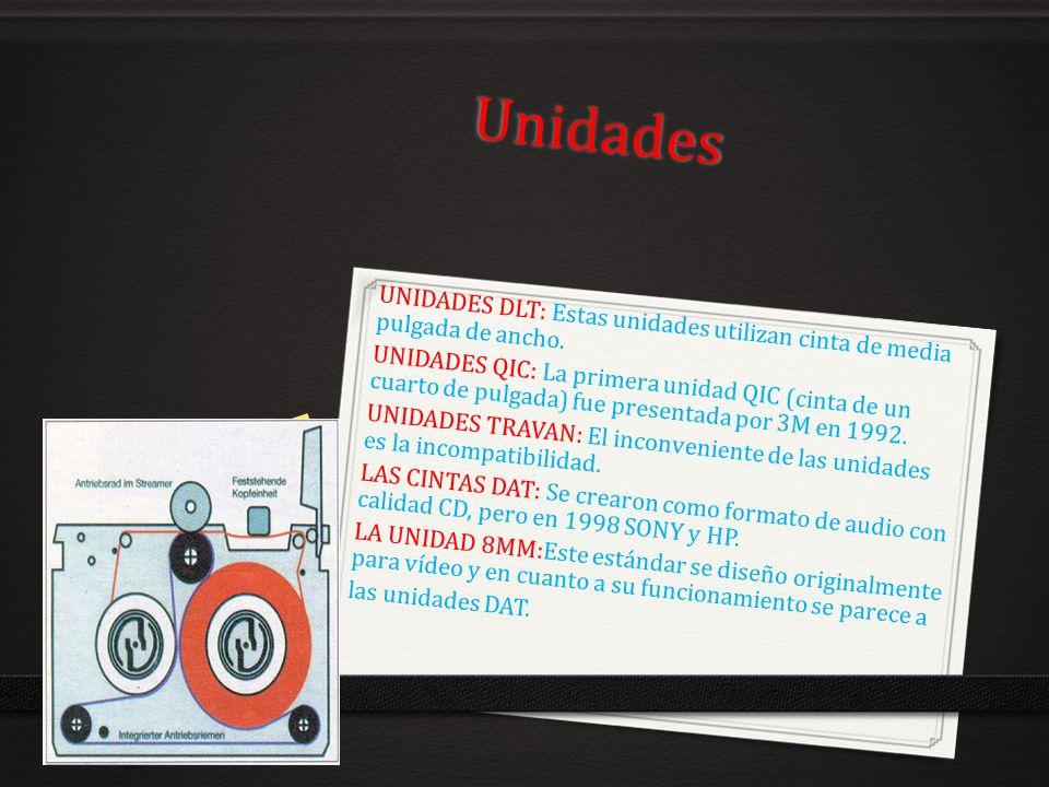 Unidades UNIDADES DLT: Estas unidades utilizan cinta de media pulgada de ancho. UNIDADES QIC: La primera unidad QIC (cinta de un cuarto de pulgada) fu